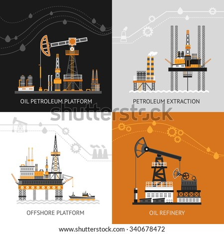 Oil platform design concept set with petroleum flat icons isolated vector illustration - stock vector