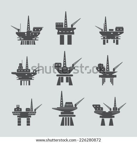 Oil platform icons set - stock vector