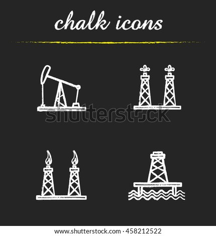 Oil platforms chalk icons set. Drilling rig, offshore well, gas and petroleum production. Isolated vector chalkboard illustrations - stock vector