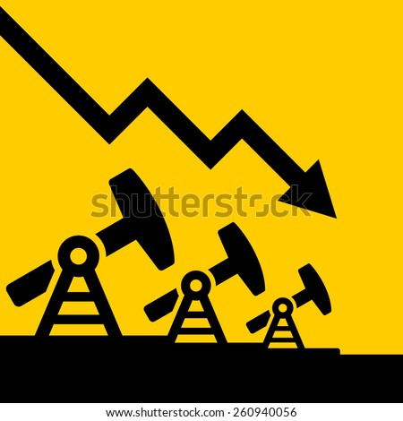 Oil Price Fall Graph. Vector - stock vector