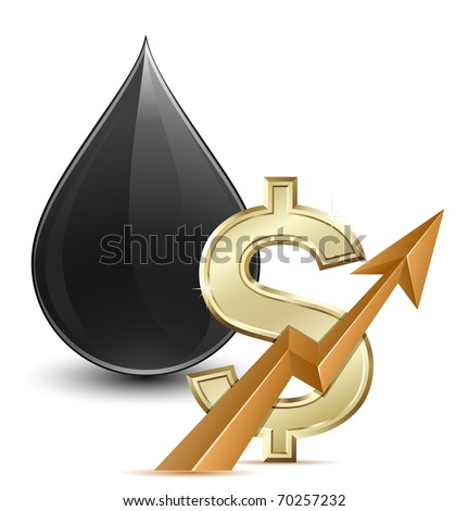Oil price. Vector illustration of crude oil and dollar sign with arrow - stock vector