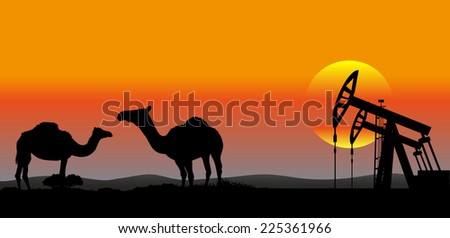 oil production Middle East industrial background - stock vector