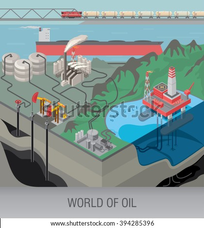 Oil production on the sea shelf with oil platform. Oil pumps get oil from deep layers of the earth. Transportation of oil products. Oil storage. / Oil industry conception / Vector illustration - stock vector