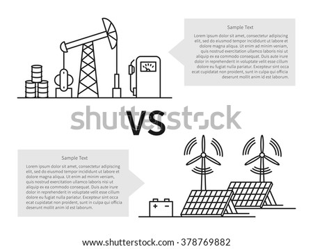 Oil production versus electric energy linear vector illustration with fuel hose pipe, petroleum, fuel, battery, wind turbine. Fuel energy vs electric creative graphic concept. Sample text boxes.  - stock vector
