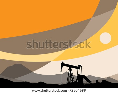 Oil Pump and abstract sunset, vector illustration - stock vector