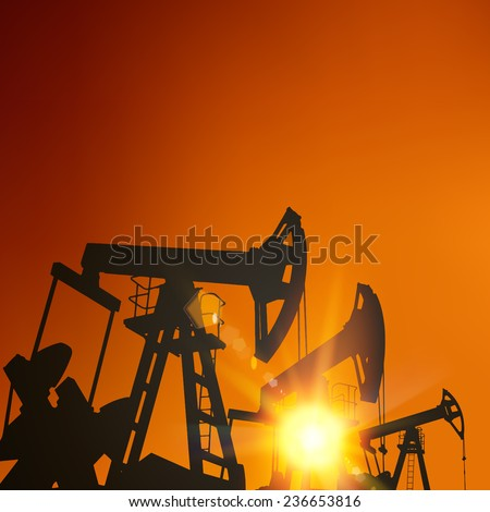 Oil pump industrial machine for petroleum in the sunset background. Vector illustration. - stock vector