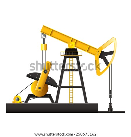 Oil pump isolated on white photo-realistic vector illustration - stock vector