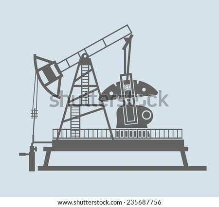 Oil pump. vector black icon on white background - stock vector