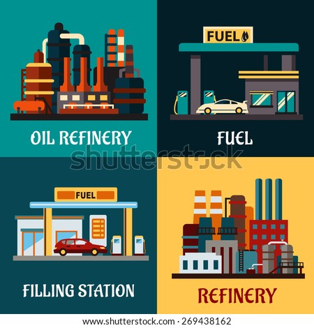 Oil refinery factories and gas stations concepts in flat style showing roadside filling stations with cars, pumps and industrial plants for refining oil products with tanks and pipes - stock vector
