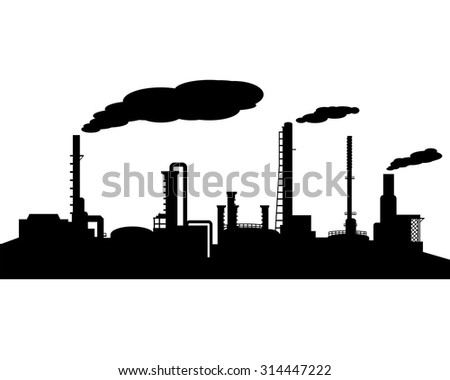 Oil refinery industry silhouette in landscape style - stock vector