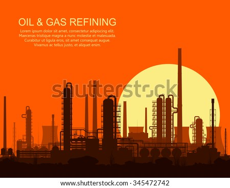 Oil refinery or chemical plant at orange sunset. Vector illustration.  - stock vector