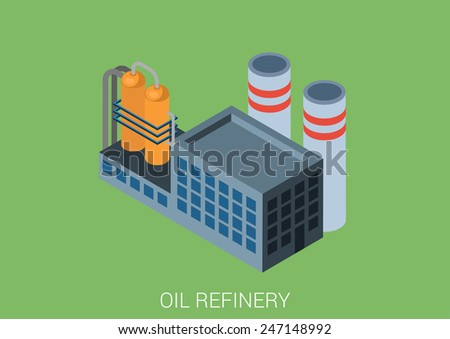 Oil refinery plant flat 3d web isometric infographic concept vector. Petroleum collection. - stock vector