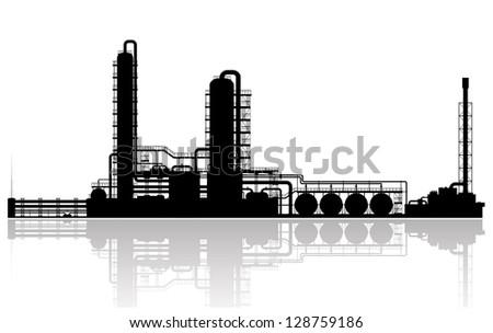Oil refinery silhouette. Vector illustration. - stock vector