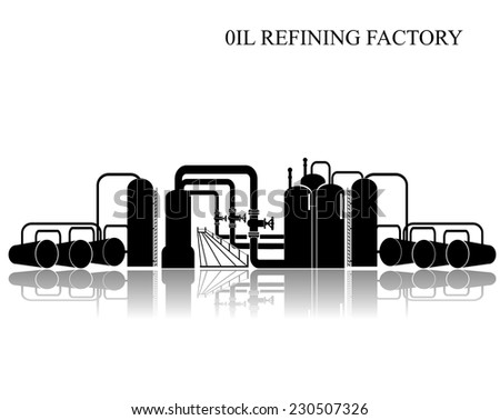 Oil refining factory. Vector illustration. - stock vector