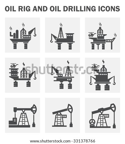 Oil rig and oil drilling icons sets. - stock vector