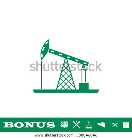 Oil Rig icon flat. Green pictogram on white background. Vector illustration symbol and bonus button