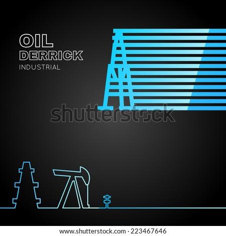 Oil rig icon in line design over dark background. Vector illustration. - stock vector