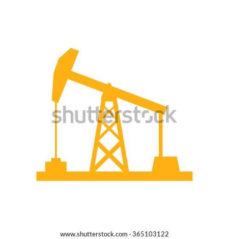 Oil rig icon on white background, orange color, vector illustration - stock vector
