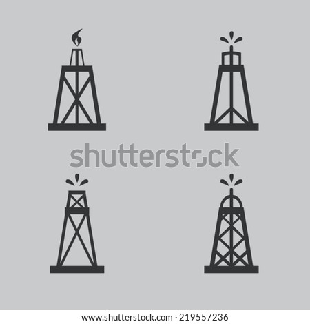 Oil rig icons - stock vector