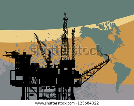 Oil rig in sea abstract, vector illustration - stock vector