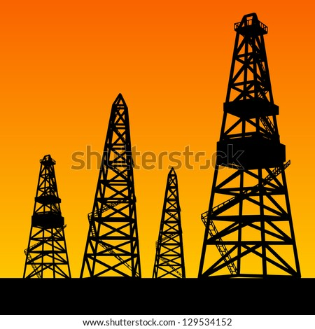 Oil rig silhouettes and orange sky. Vector illustration, eps10, contains transparencies, gradients and effects. - stock vector