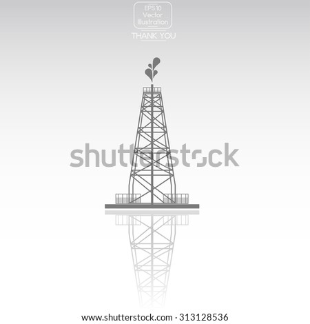 Oil rig. Vector icon. - stock vector