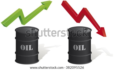 Oil Rises, Lower Oil. Oil barrel with two arrows: one green and one red. Vector illustration. EPS10 file. - stock vector