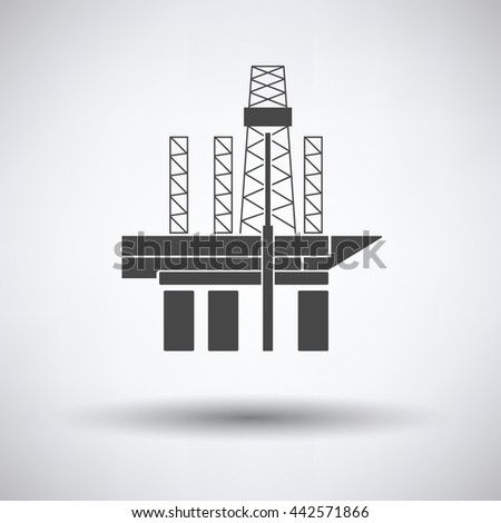 Oil sea platform icon on gray background, round shadow. Vector illustration.