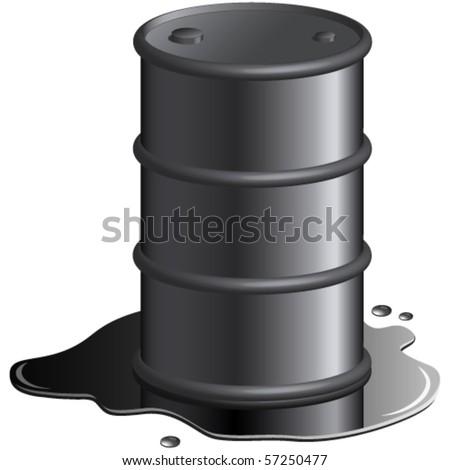 oil spill and oil barrel vector illustration - stock vector