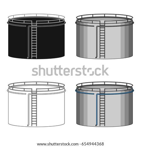 Oil Storage Tank Single Icon Cartoon Stock Vector 654944368 Shutterstock