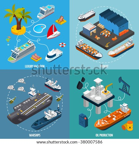 Oil tanker and luxury vacation passenger liner vessels 4 isometric icons square composition poster abstract isolated vector illustration - stock vector