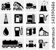Oil vector icons set on gray. - stock vector