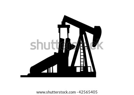 Oil Well Silhouette isolated on a white background. - stock vector
