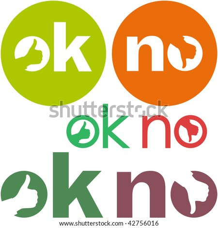 Ok and No icon. Vector beautiful icon set. - stock vector