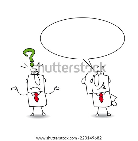 ok but why. Joe asks a question at his colleague. But Sam has no answer - stock vector