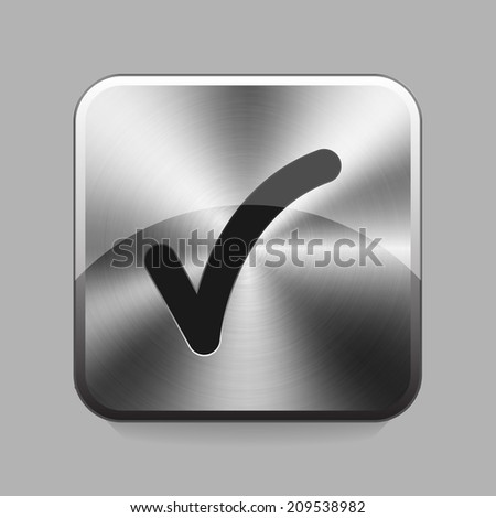 OK chrome or metal  button or icon vector illustration