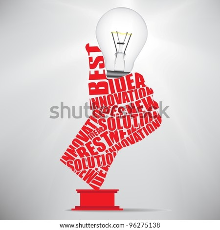 ok hand lamp bulb - stock vector