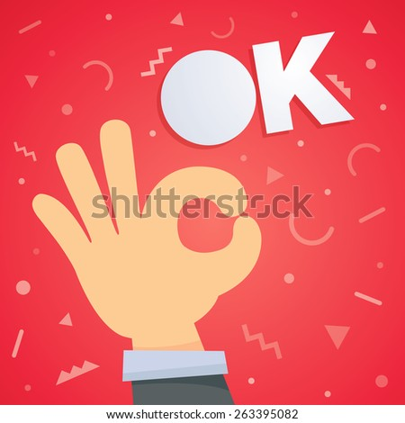 Ok hand vector illustration - stock vector