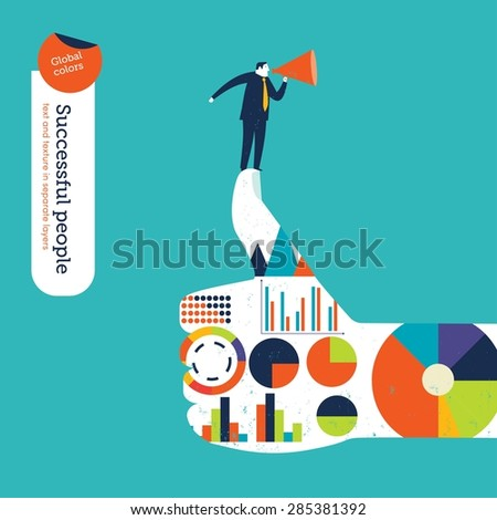 Ok hand with charts and diagrams businessman with megaphone. Vector illustration Eps10 file. Global colors. Text and Texture in separate layers. - stock vector
