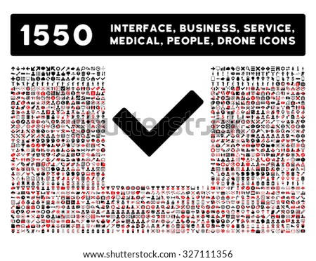 Ok icon and other web interface, business, tools, people, medical service and awards vector symbols. Style is bicolor flat symbols, intensive red and black colors, rounded angles, white background. - stock vector
