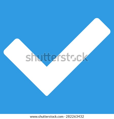 Ok icon from Basic Plain Icon Set. Style: flat vector image, white color, rounded angles, blue background. - stock vector