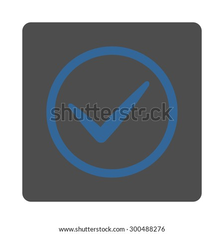 OK icon. This flat rounded square button uses cobalt and gray colors and isolated on a white background.
