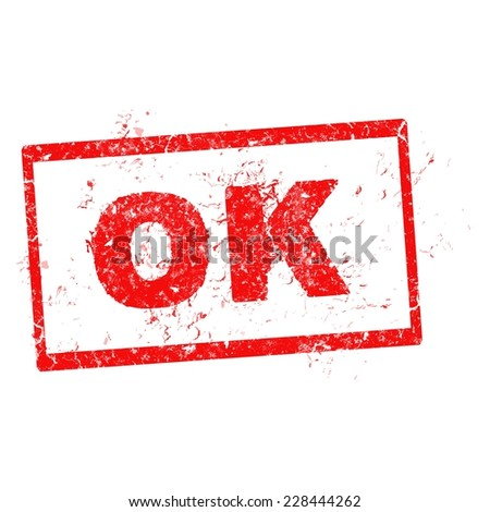 OK red stamp vector on white background - stock vector
