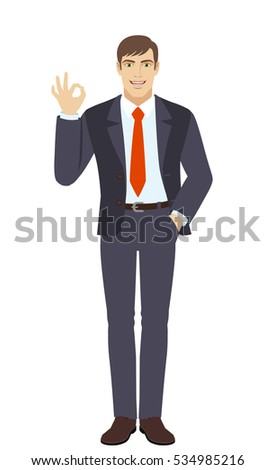 OK! Smiling businessman show a okay hand sign. Full length portrait of businessman in a flat style. Vector illustration.