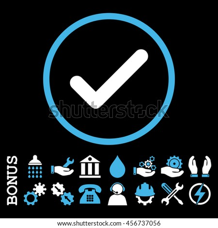 Ok vector bicolor icon. Image style is a flat pictogram symbol inside a circle, blue and white colors, black background. Bonus images are included. - stock vector
