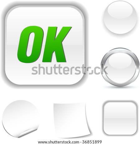 Ok white icon. Vector illustration. - stock vector