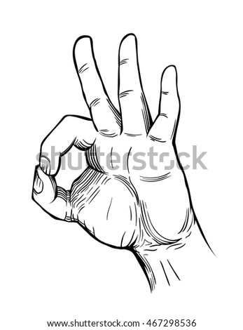 okay hand sign. engraving style. vector illustration/