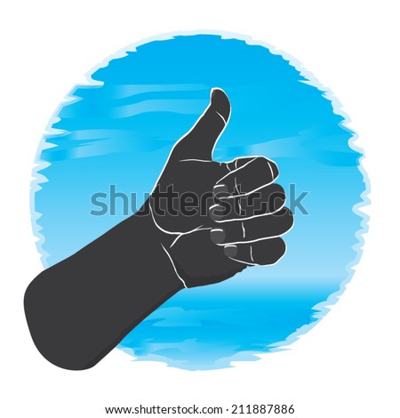Okay sign with hand illustration.
