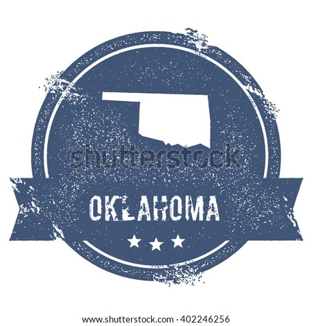 Oklahoma mark. Travel rubber stamp with the name and map of Oklahoma, vector illustration. Can be used as insignia, logotype, label, sticker or badge of USA state. - stock vector