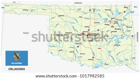 Oklahoma Road Vector Map Flag Stock Vector 2018 1017982585